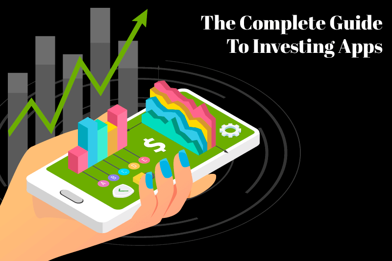 Learn how to start growing your money with The Money Manual's complete guide to investing apps. A woman's hand is holding a cellphone with popup dollar signs and bar graphs representing an investing app.