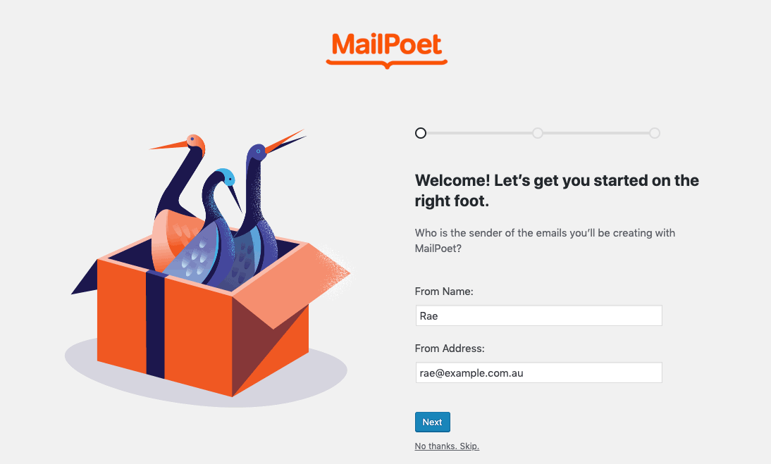 MailPoet installation screen.