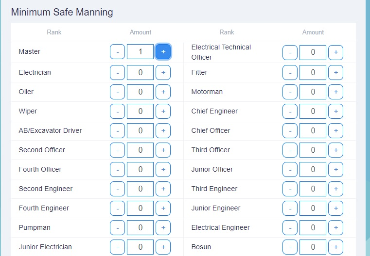 The Martide website page where a shipowner can add their minimum safe manning crew numbers