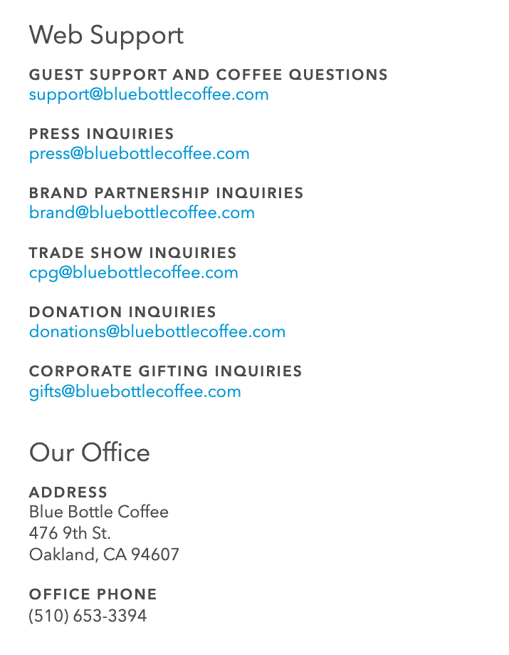 Blue Bottle Coffee Contact Page 2