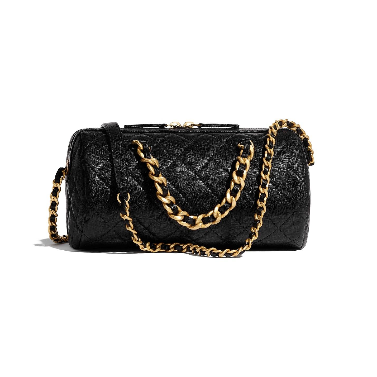 Grained Calfskin & Gold-Tone Metal Black Bowling Bag | CHANEL
