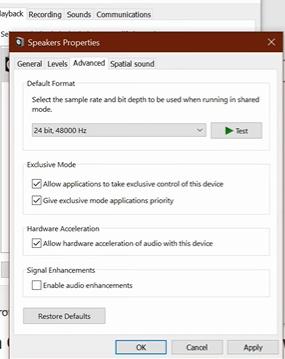 disable audio enhancements