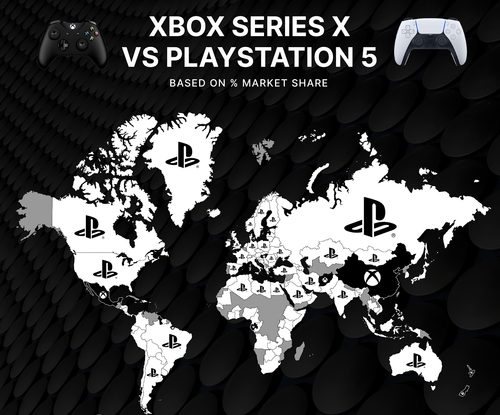 Xbox Series X V Playstation 5: world map reveals the most in-demand console  worldwide 🎮 - Rise at Seven