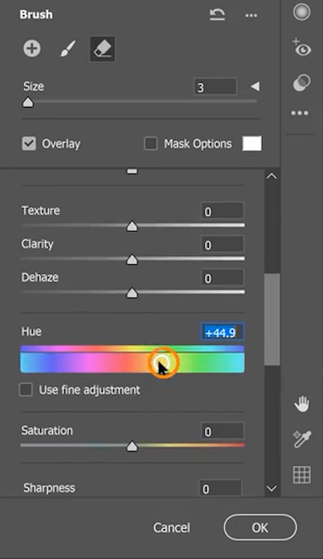 Use the Hue slider or the other sliders in the Properties panel to change the parachute color.