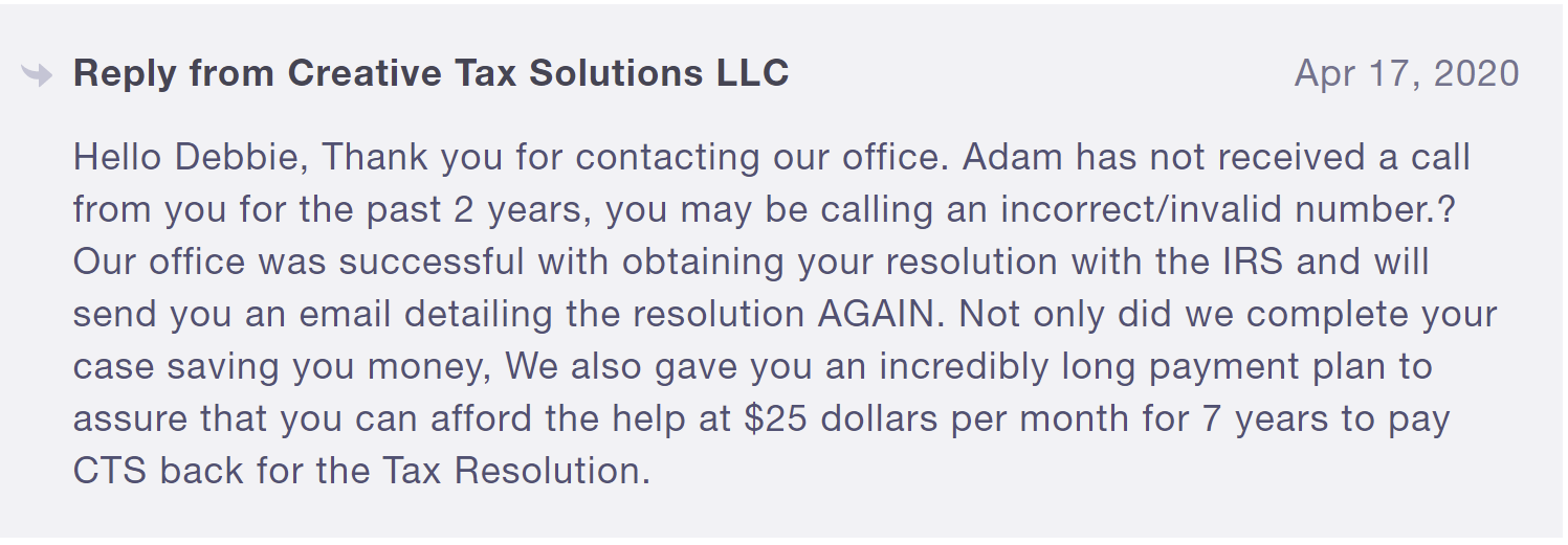 creative tax solutions is bad