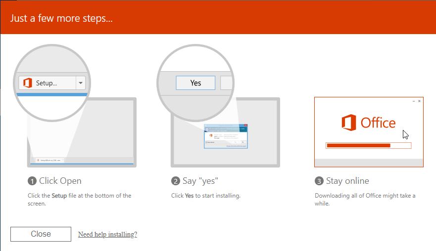 Instalação Office - guardar ficheiro de instalação