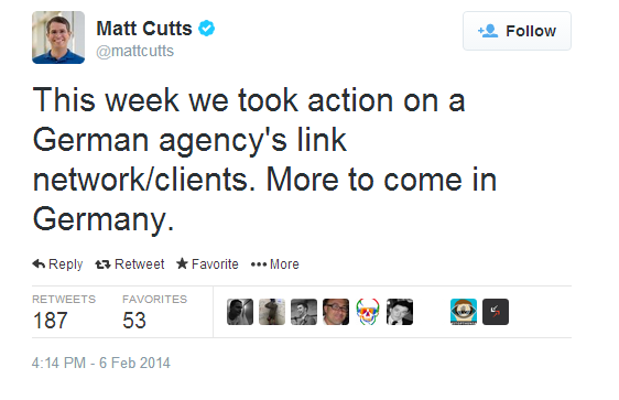 Matt Cutts tweeted about Google clamping down on German link networks