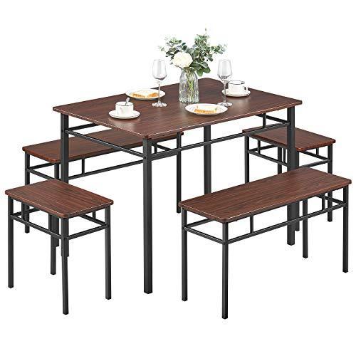 modern wood space saving dining table set