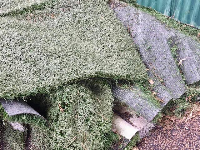 Old synthetic turf matt destined for landfill (Photo by John Englart)