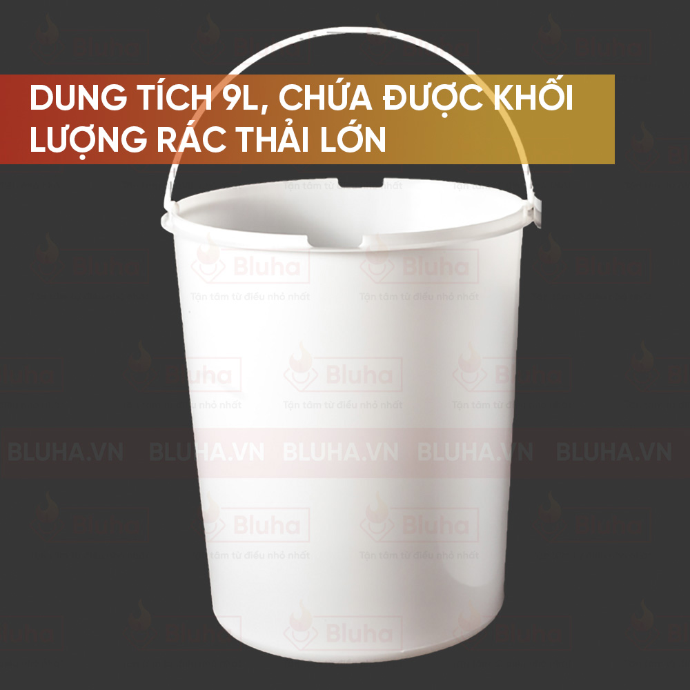 Dung tích 9l, chứa được lượng rác thỉa lớn - Thùng rác inox 9L, cánh mở Garis BR01.400 - Phụ kiện bếp chính hãng