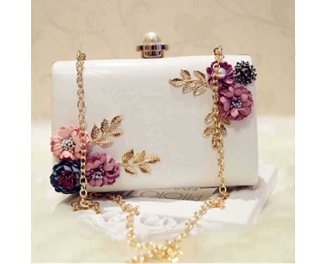 W-FIGHT Chic Women Evening Bag Round Flower Dinner Party Wedding Clutch Shoulder Handbag