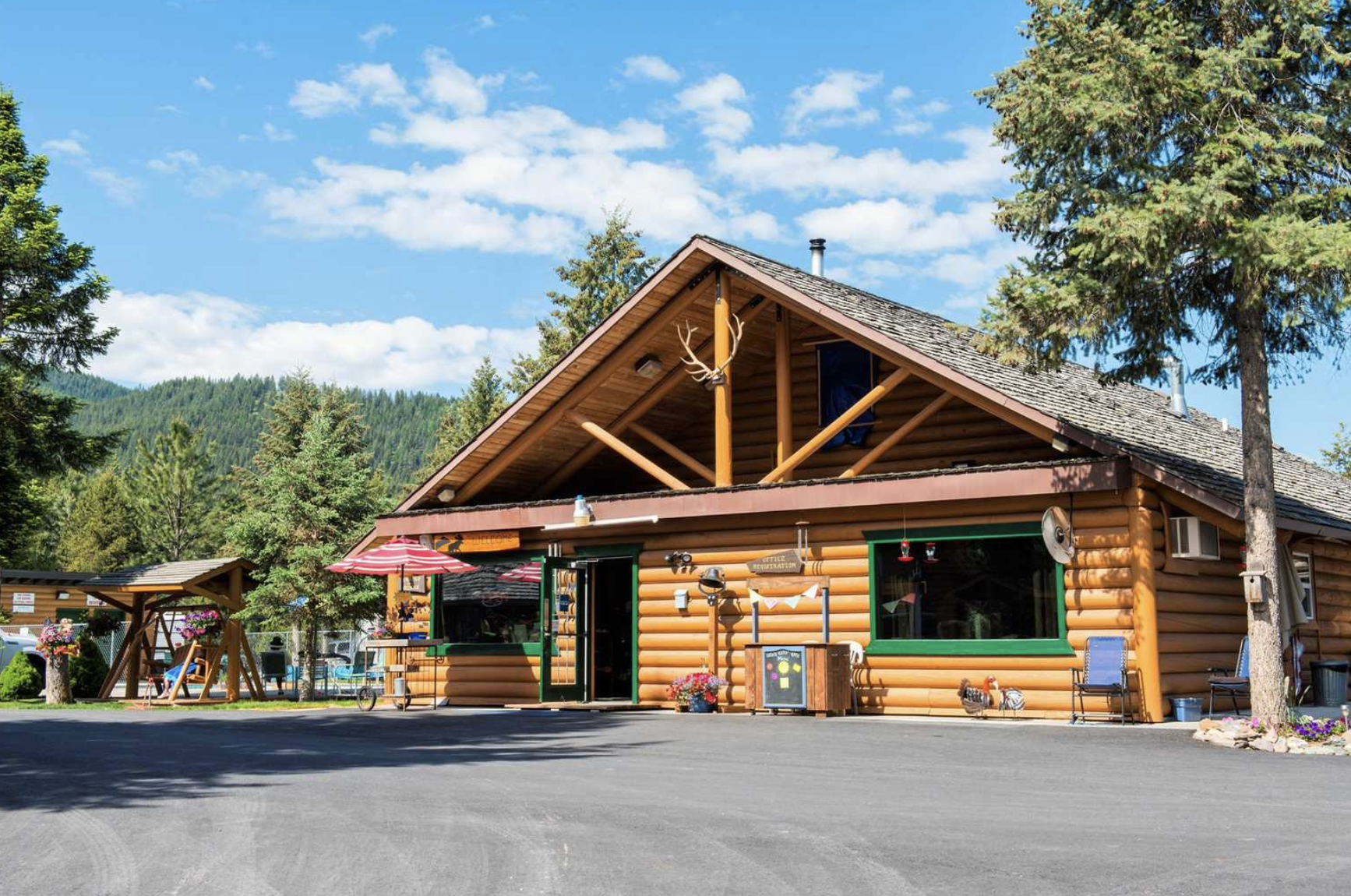 Log cabin general store at campground
