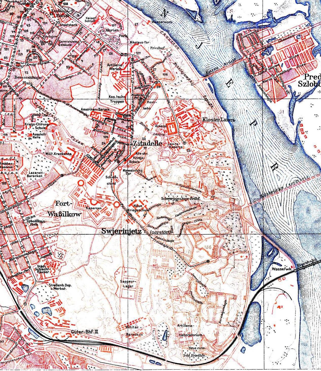 Фрагмент німецької мапи Києва 1918 р. По обидва боки залізниці видно місце розташування відстійників на Звіринці