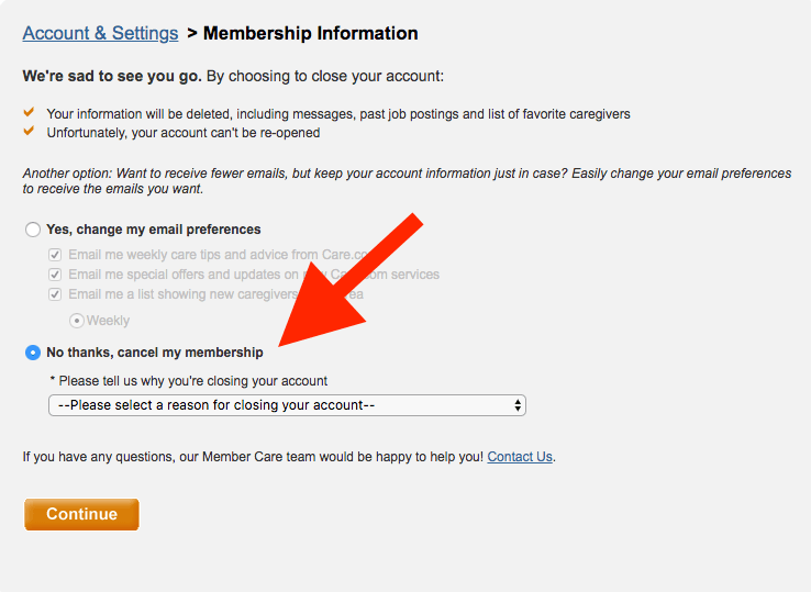 How to delete Care.com account: Arrow pointing to cancel my membership