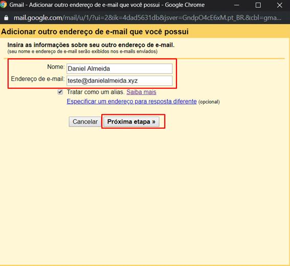 tela para inserir as outras informações de email