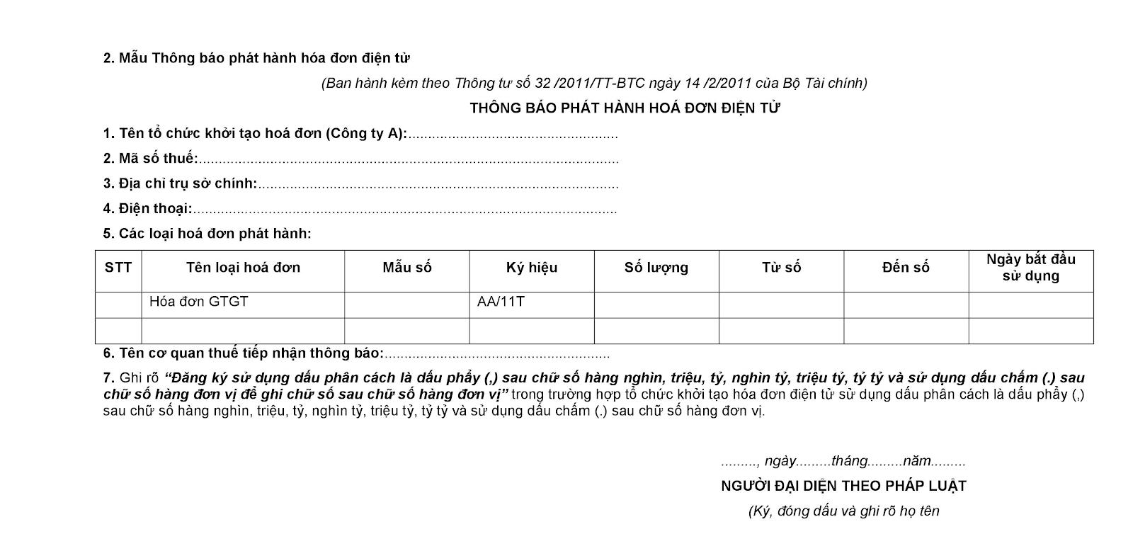 Mẫu số 2 Phụ lục ban hành kèm theo Thông tư 32/2011/TT-BTC