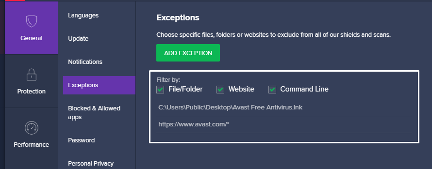 add exceptions in avast