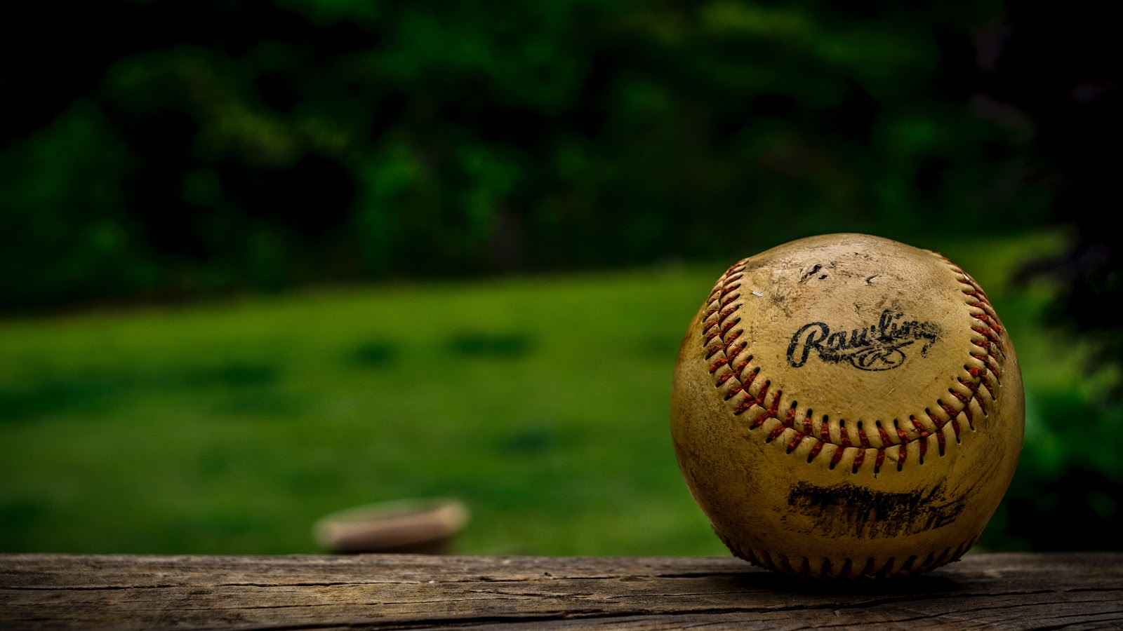 a baseball in shallow focus
