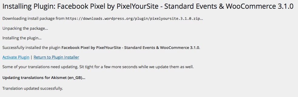 Pixel your site install