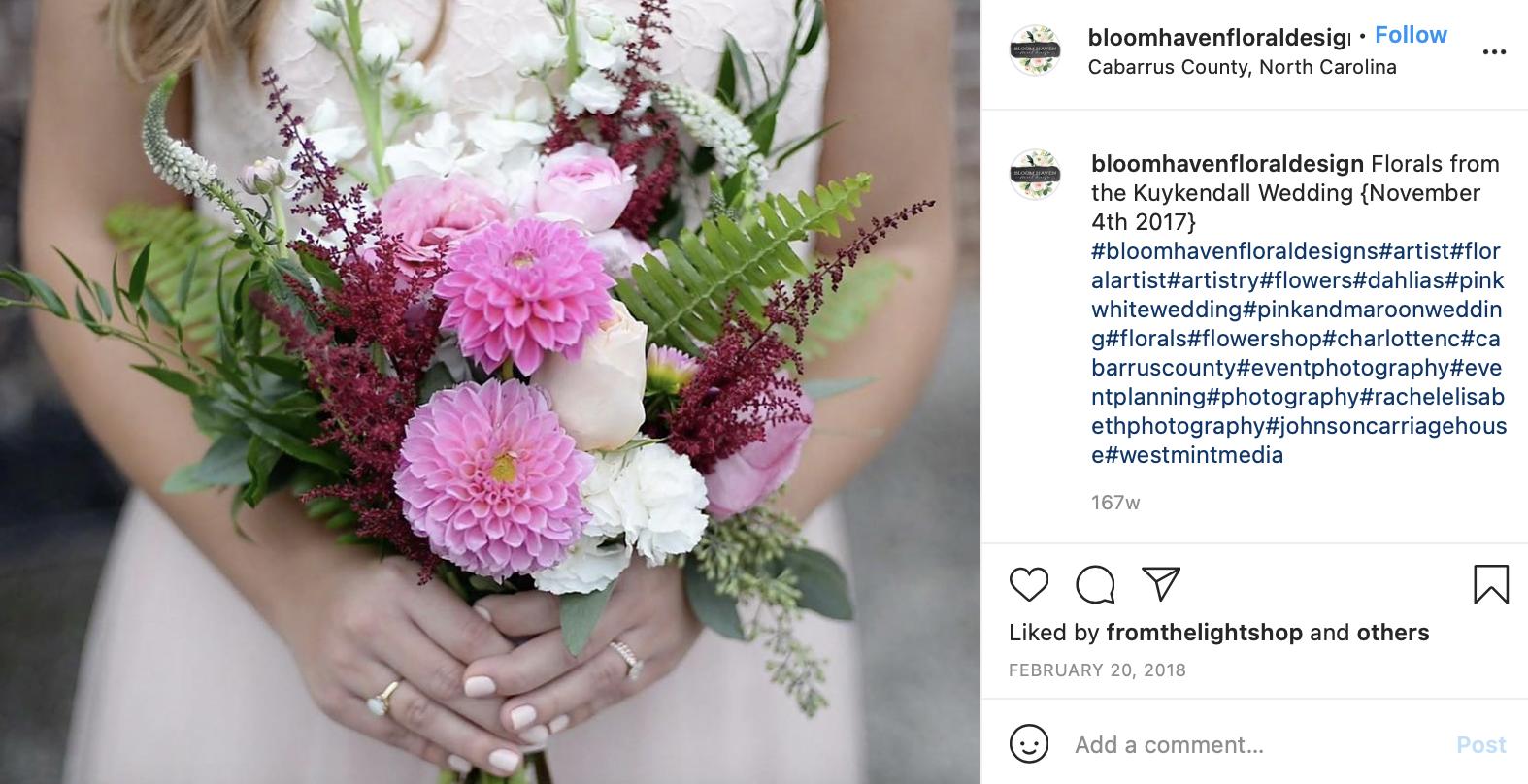 soft pink, dark green, and maroon wedding florals