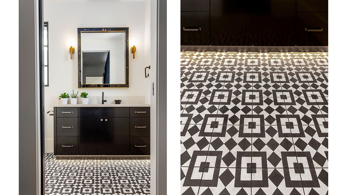 Square floor tile with an overlapping pattern