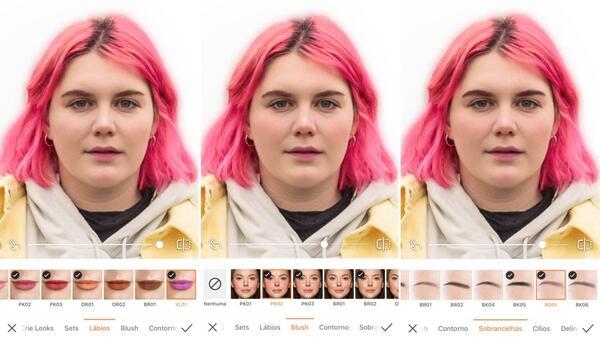 Foto de uma mulher de cabelo rosa usando calça jeans, moletom e jaqueta de sarja amarela sendo editada por AirBrush