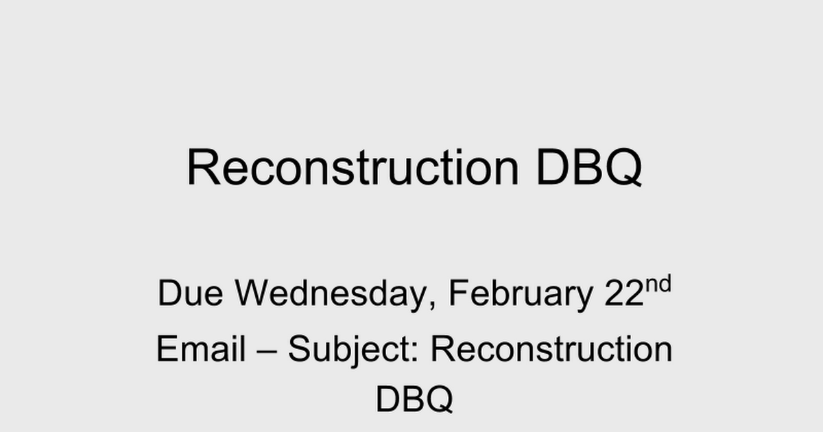 reconstruction dbq google slides