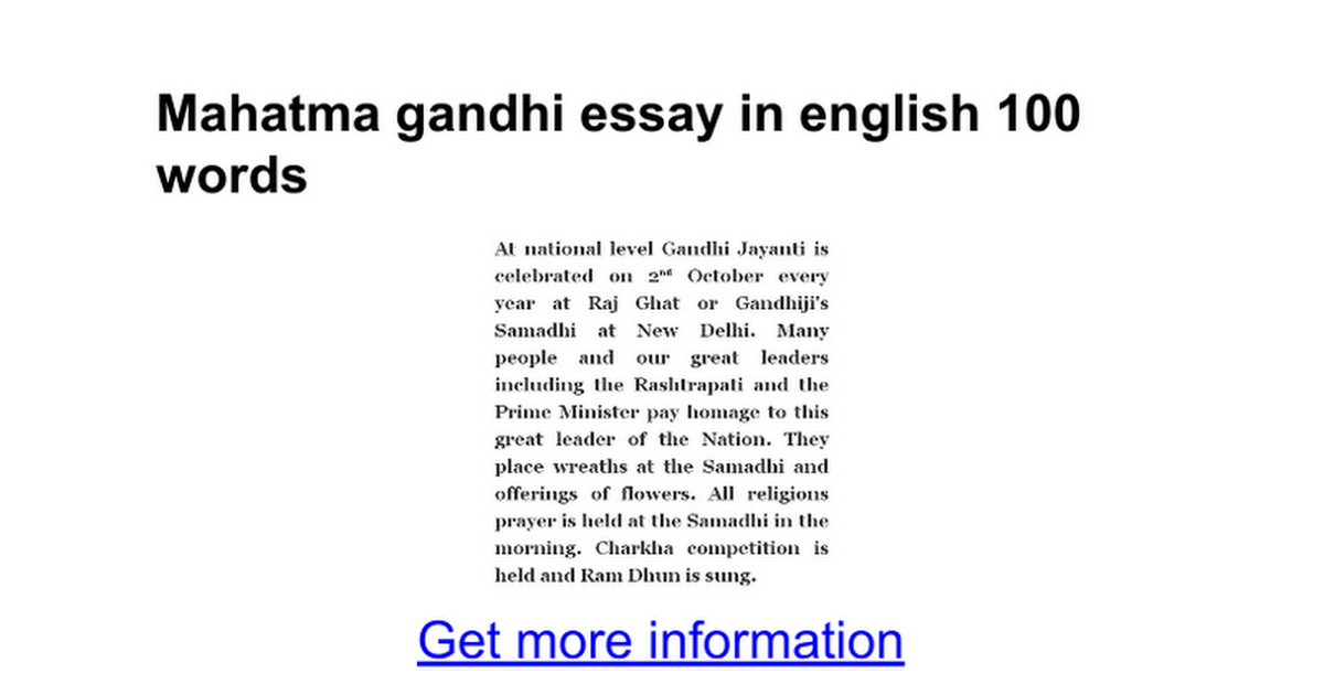 mahatma gandhi essay in english words google docs