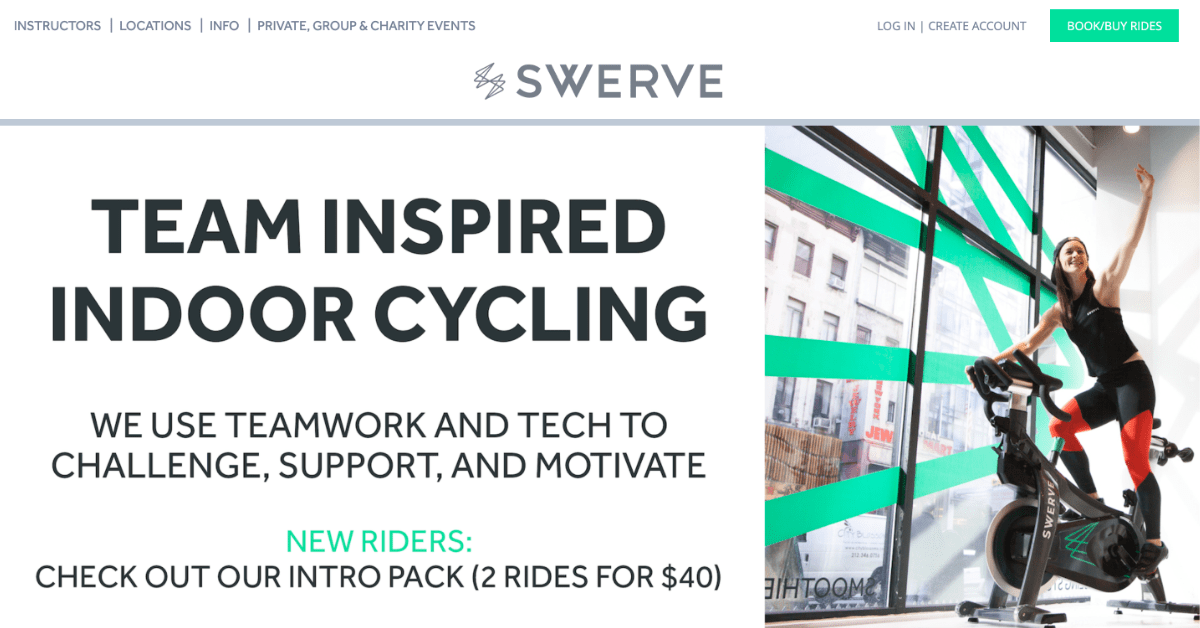 swerve fitness homepage