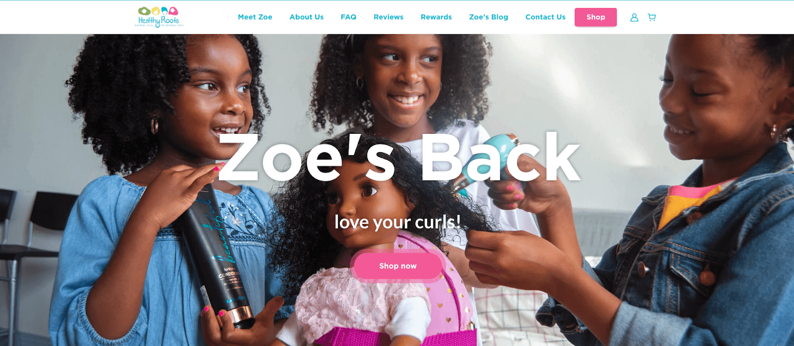 Screenshot of Healthy Roots Doll's homepage