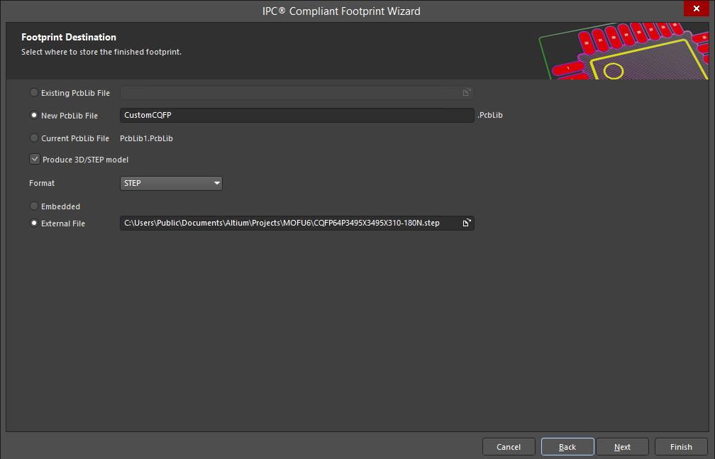 Screenshot of the finished component in Altium  Speichern der IPC-konformen Footprint-Modelle in Altium Designer