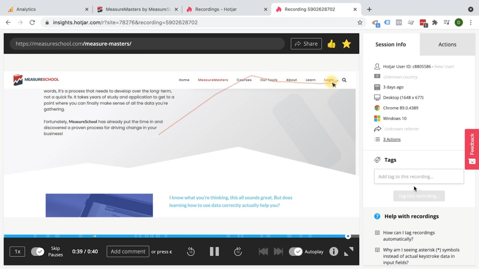 Hotjar - User recording - user leaving the website