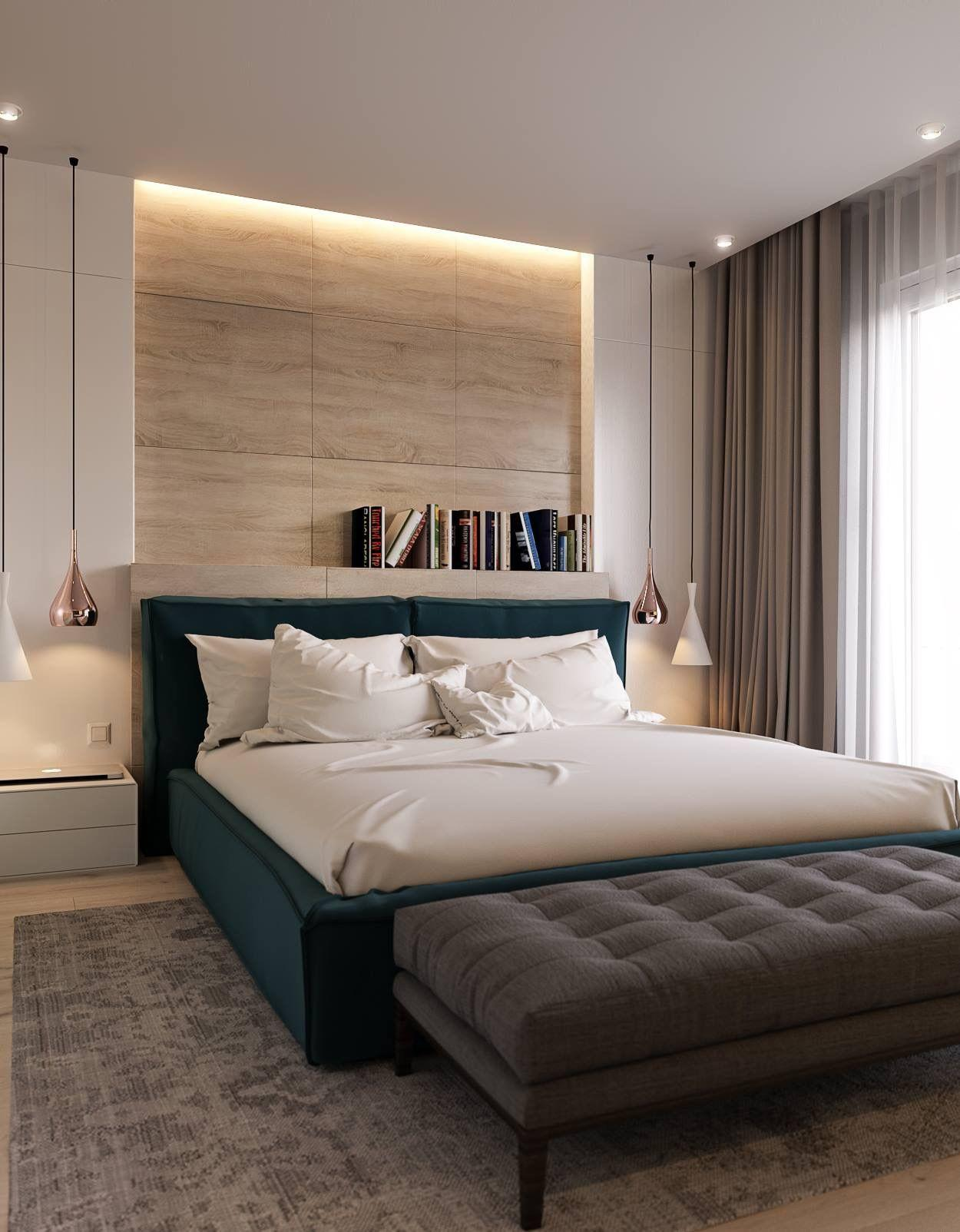 Điểm nhấn nội thất là giường ngủ màu xanh