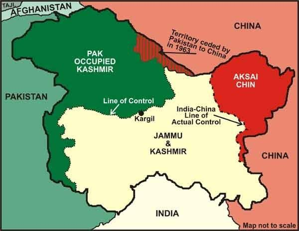 Image result for line of control kashmir map