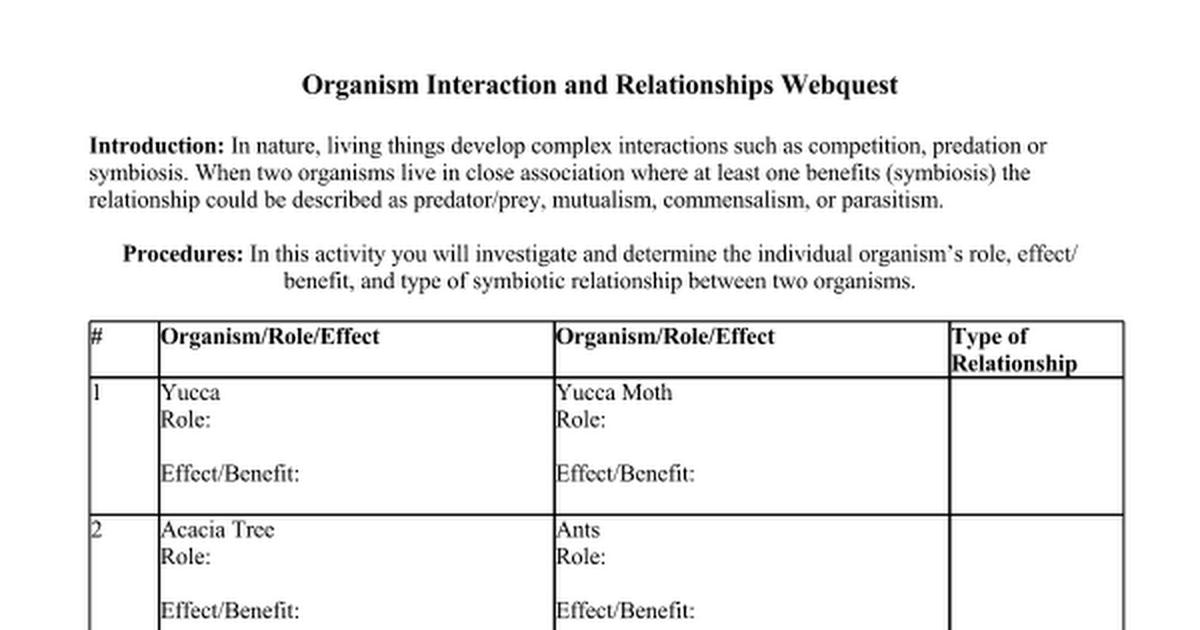 Organism Interaction Webquestdoc Google Docs – Symbiotic Relationships Worksheet