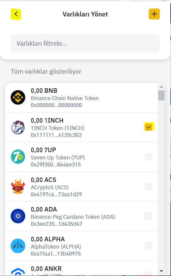 binance chain wallet token ekleme