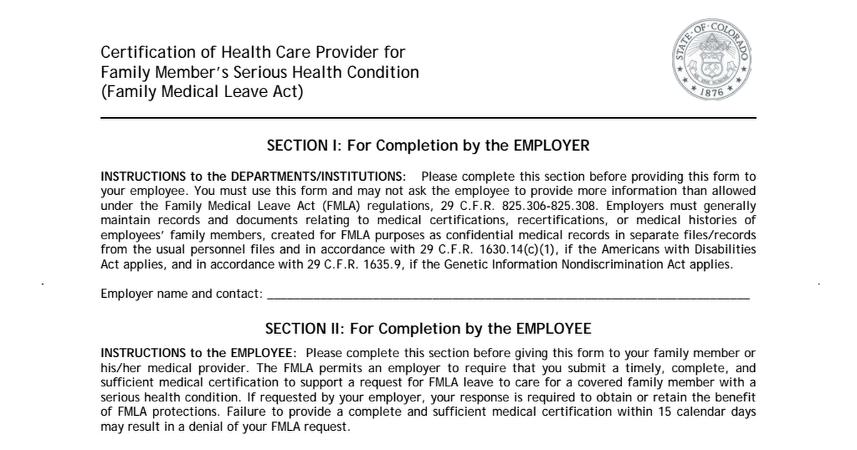 Fmla Certification Of Health Care Provider For Family Members
