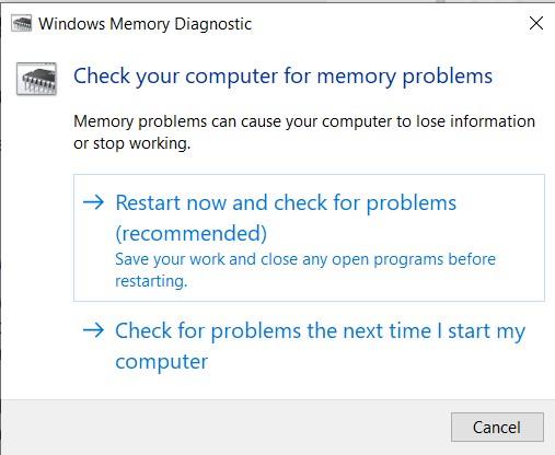 Windows Memory Diagnostic tool window