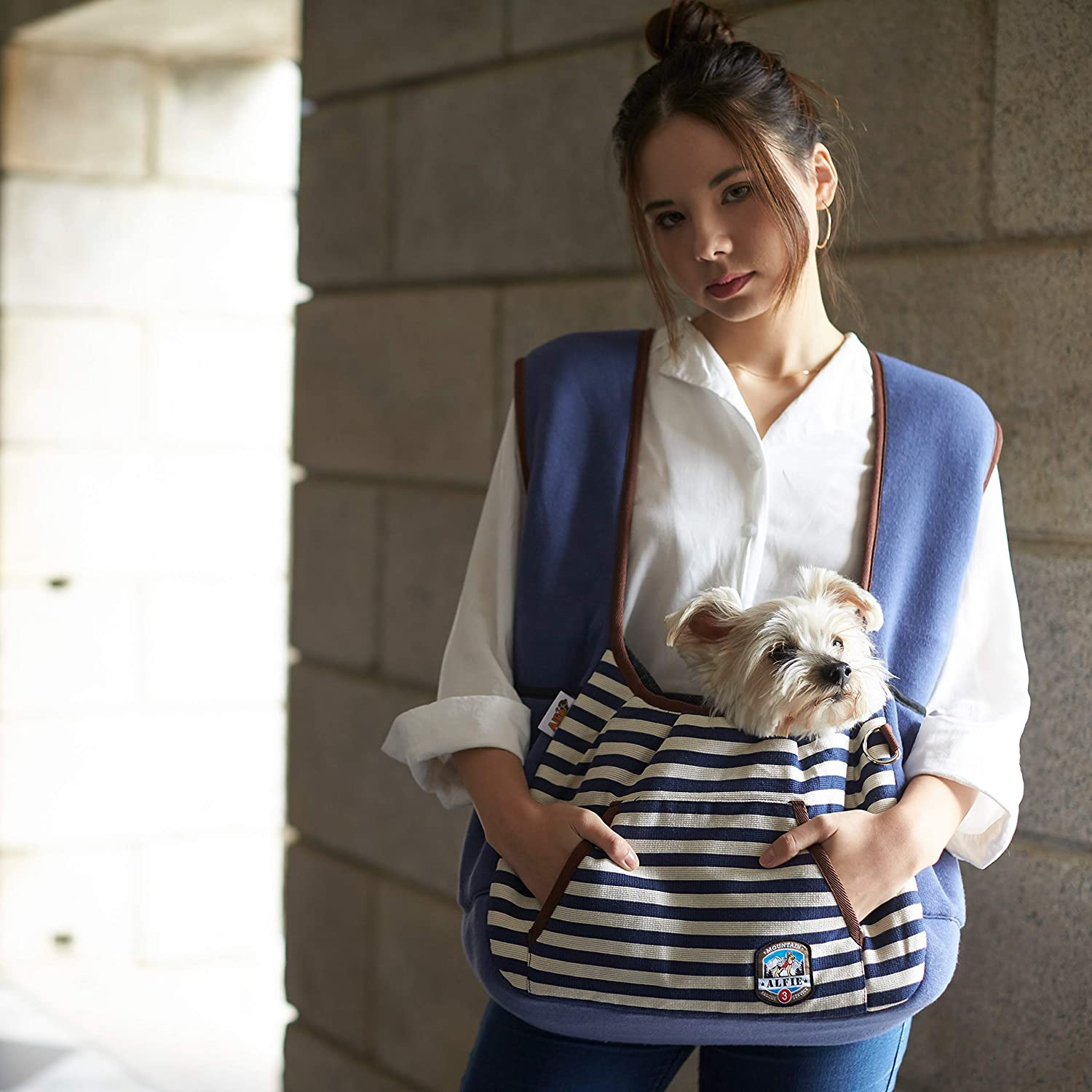 Person holding small white dog in a front-facing striped dog sling.