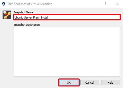 Virtual Hacking Lab - Ubuntu Server VM Snapsho. Source: nudesystems.com