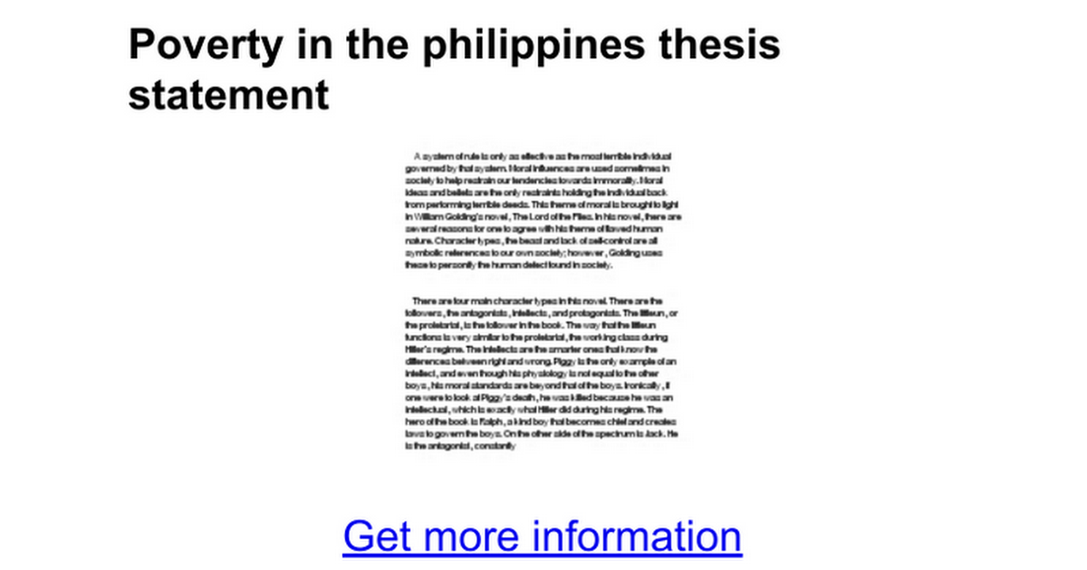 Poverty In The Philippines Thesis Statement  Google Docs