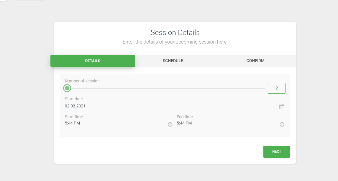 Default sessions count in multiple sessions