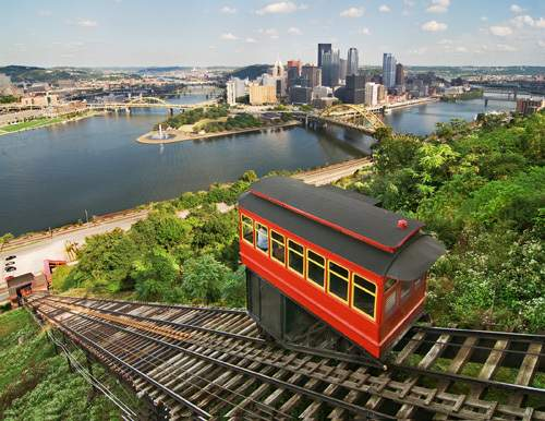 view of the Pittsburgh skyline from the Duquesne Incline