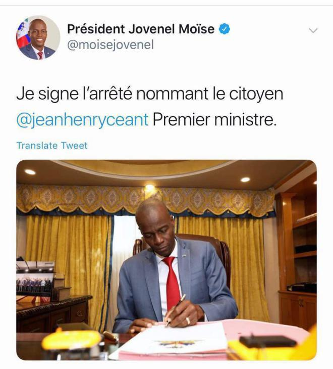 JEAN HENRY CEANT GETS THE NOD FROM PRESIDENT MOISE AS OUR NEXT PRIME MINISTER