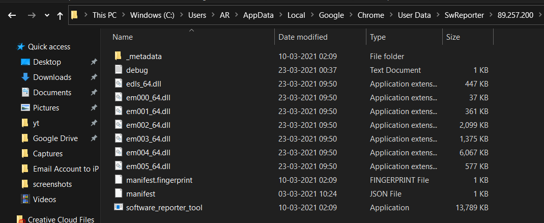 Google Chrome User Data folder