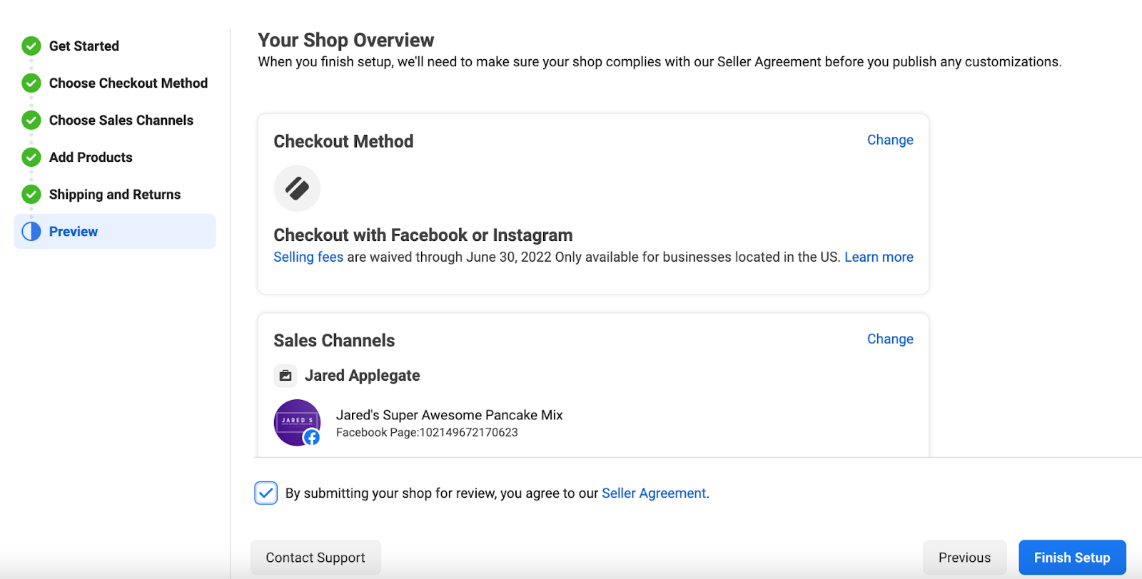 Facebook Shops overview page