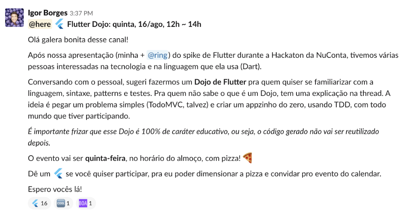 Internal Slack post that invites engineers to an educational Flutter coding dojo to be held Thursdays' lunch with pizza.