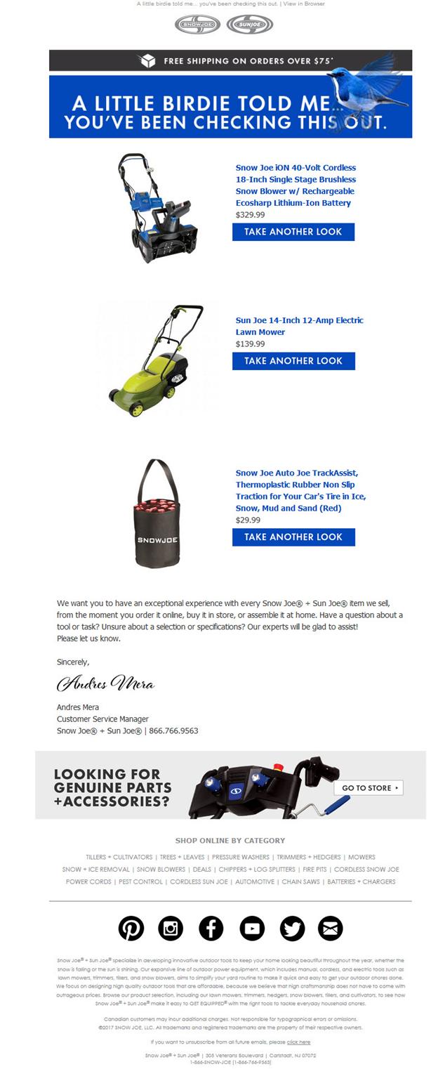 Exemples de campagnes par e-mail CA et BA