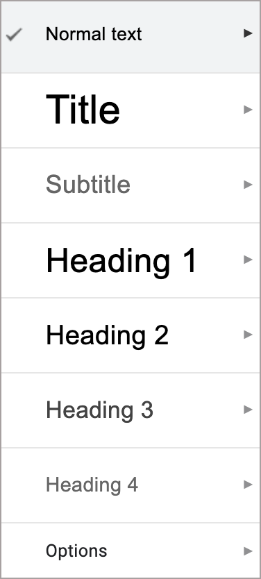 Google Docs heading styles menu includes Title, Subtitle, Headings 1-4, and Options.