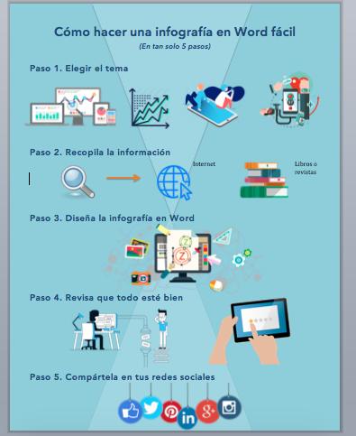 cómo hacer una buena infografía en Word colores